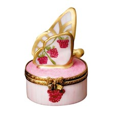 Raspberry Butterfly Limoges Box