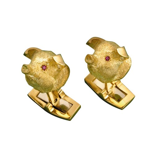 18k Gold Piglet Head Cufflinks