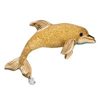 Small Dolphin Pin Gold Ruby .05ct Diam