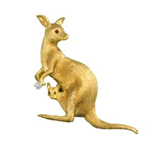 18K Yellow Gold Kangaroo and Baby Pin