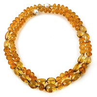 18k Gold Citrine Necklaces, Set of 2