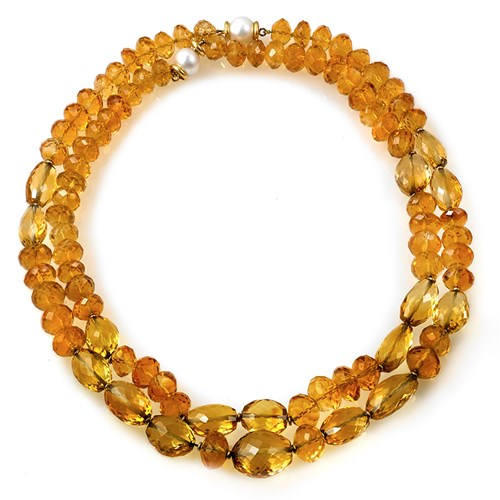 18k Gold Nesting Citrine Necklaces