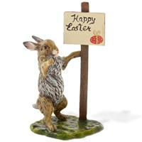 Austrian Bronze Happy Easter Rabbit Figurine