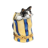 Limoges Box Cat in Bag