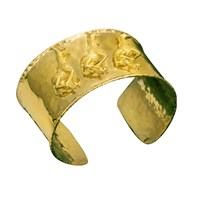 Large 18k Yellow Gold Cuff Bracelet with Giraffes