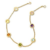 18k Gold Sunflower Necklace with Multi-Color Gemstones
