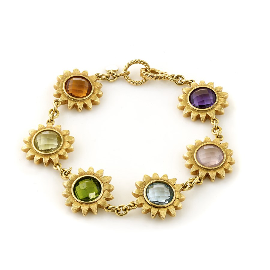 18k Gold Sunflower Bracelet With Multi Color Gemstones Hover To Zoom