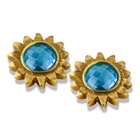 18k Gold Blue Topaz Sunflower Earrings