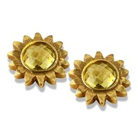 18k Gold Lemon Citrine Sunflower Earrings
