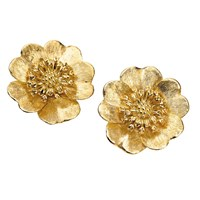 Hand Engraved Wild Rose Earclips 18k
