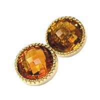 18k Gold Madeira citrine Bezel Earrings