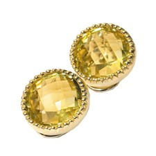 18k Gold Lemon Citrine Bezel Earrings