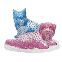 Herend Max & Sally Figurine, Blue and Raspberry