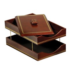 Double Line Leather Double Legal Trays