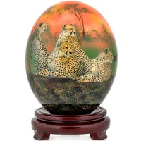 Decoupage Ostrich Egg with Cheetahs & Warthogs