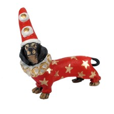 Austrian Bronze Christmas Dachshund Clown Figurine