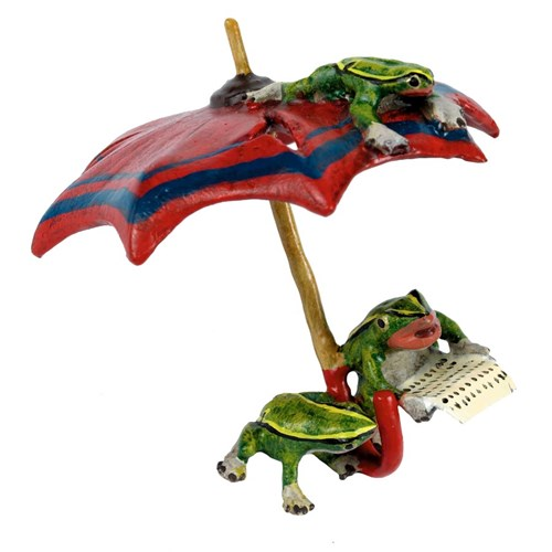 Austrian Bronze Three Frogs Newspaper Umbrella Figurine
