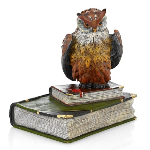 Austrian Bronze Owl on Two Books, Large Figurine