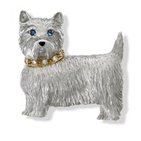 18k White Gold Westie Brooch with Diamond Collar & Sapphire Eyes
