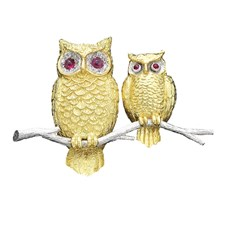 18k Yellow Gold Owl & Owlet Pin