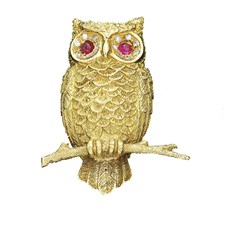 18k Yellow Gold Single Owl Pin