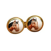 Gold & Enamel Horse Head Cufflinks