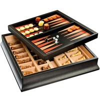 Chess / Backgammon Black Trunk Set