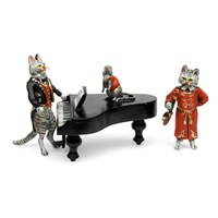 Austrian Bronze Mouse-Piano, Cat-Pipe, Cat-Tuxedo - 3-Piece Figurine