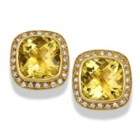 Square Yellow Beryl Earrings Yellow Gold