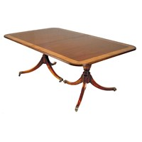 Dining Table with Yew & Walnut Burl Banding