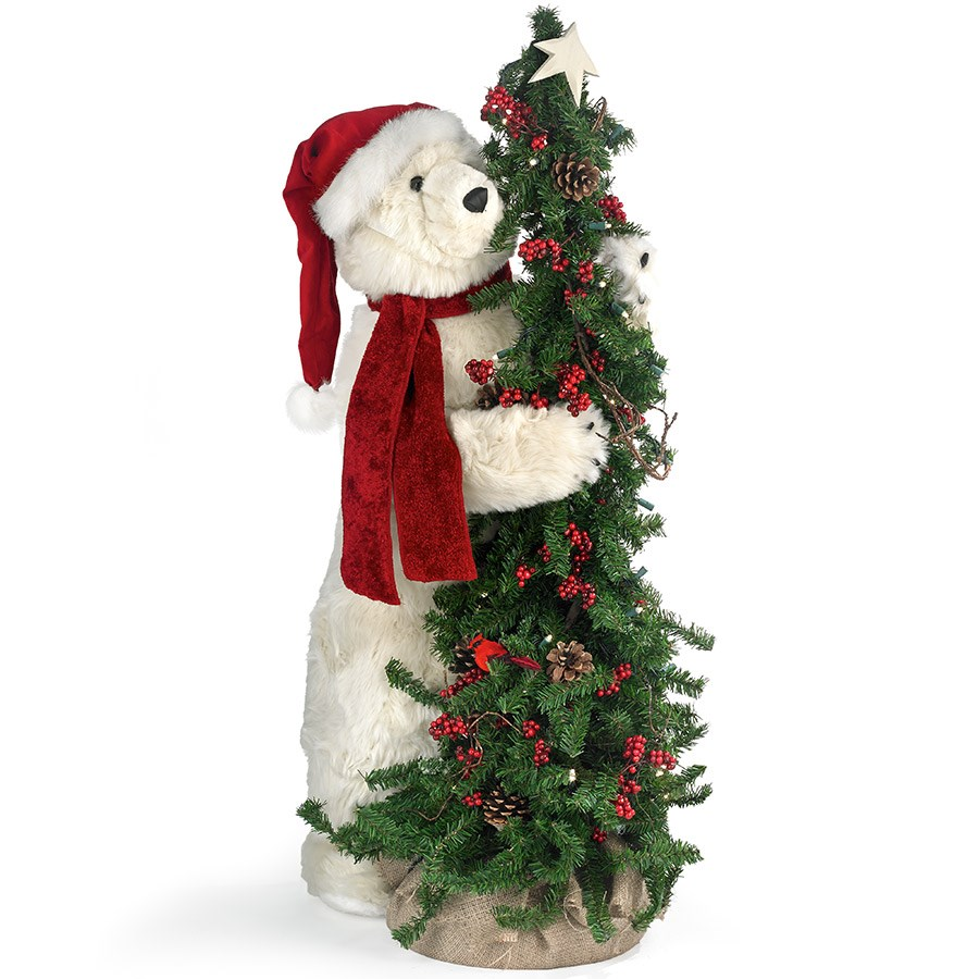 Tree polar bear with hat christmas decorations holiday for Bear home decorations