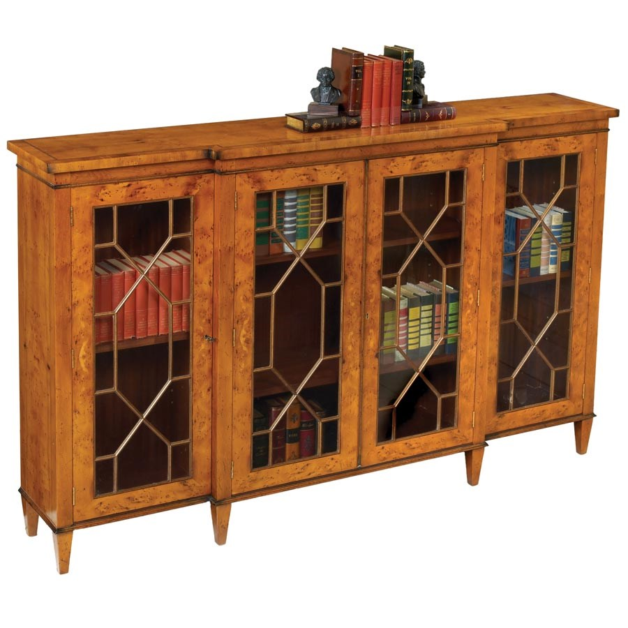 Yew Glazed Breakfront Bookcase Bookcases Cabinets Bookcases Chests Furniture