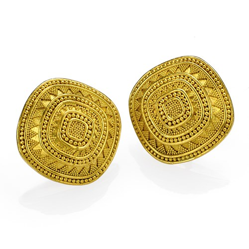 18k/22k Gold Square Domed Granulated Earrings