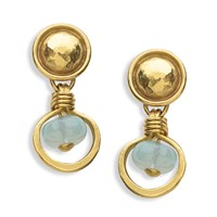 Aquamarine Coin Earrings