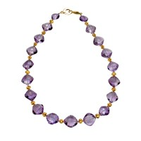Amethyst Necklace with 18k Gold Balls