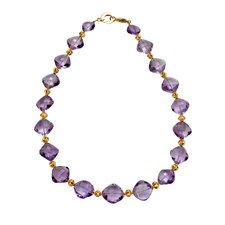 18k Gold Ball Amethyst Necklace