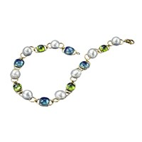 Blue Topaz Peridot SS Pearl Necklace