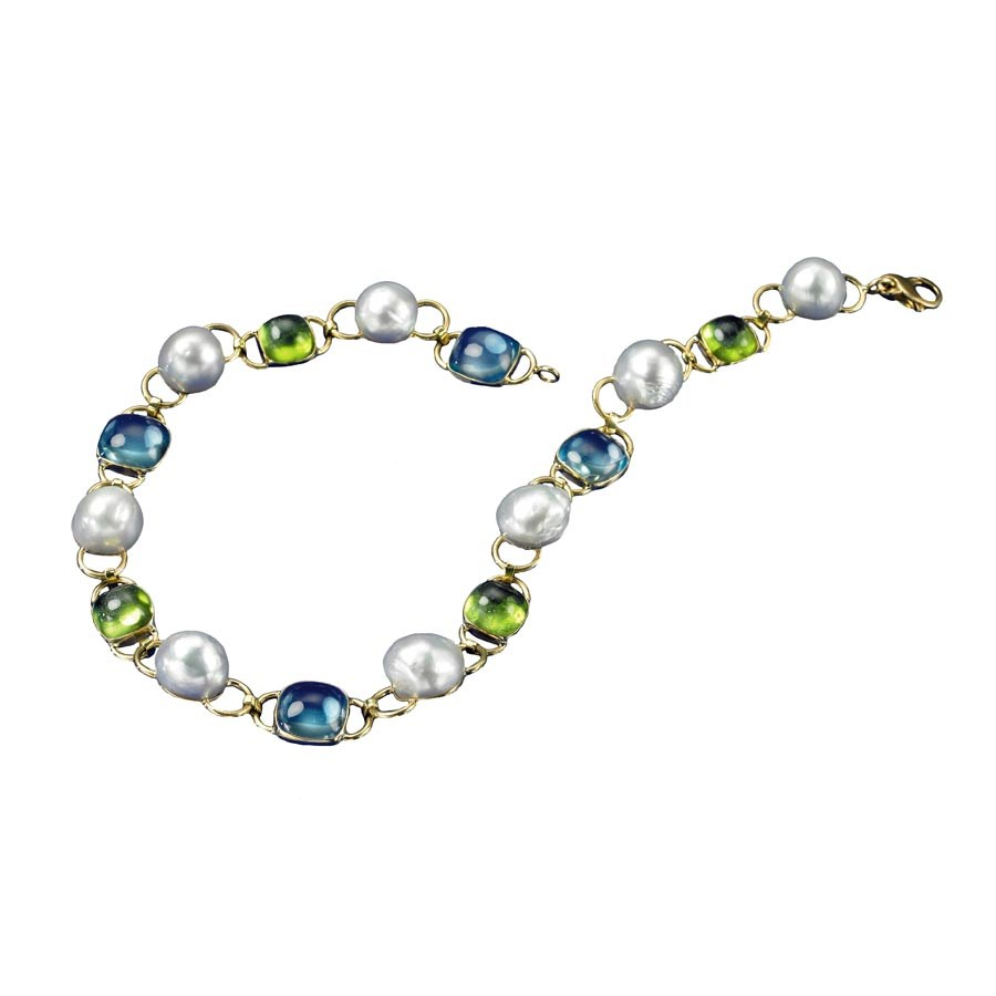 Blue Topaz And Pearl Necklace: 18k Yellow Gold Blue Topaz Peridot South Sea Pearl