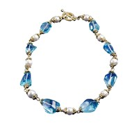 18K Gold Blue Topaz & Freshwater Pearl Necklace