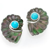 Nautilus Earrings Gray MOP Turquoise