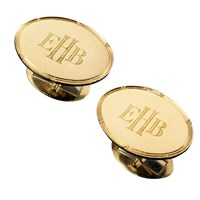 Oval Plate Notched Rim Gold Cufflinks