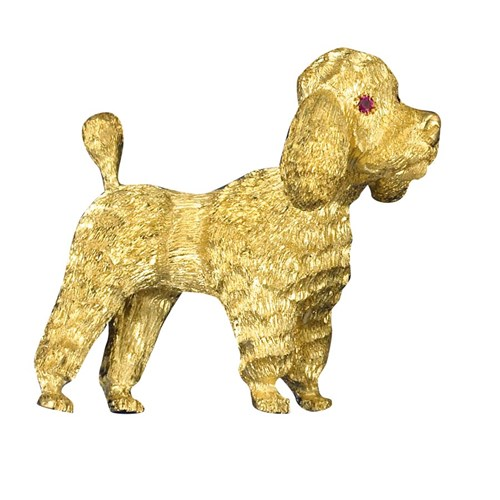 18K YG Dutch Cut Poodle Pin Ruby Eyes
