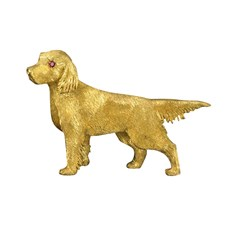 18k Yellow Gold Golden Retriever Pin