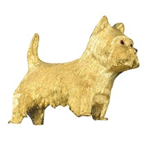 18k Yellow Gold West Highland Terrier Pin