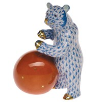 Herend Bear with Ball Figurine