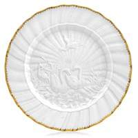 Swan Service Dinner Plate with Gold Rim