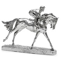 Sterling Silver Horse and Jockey Sculptures