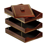 Florentine Leather Triple Legal Trays
