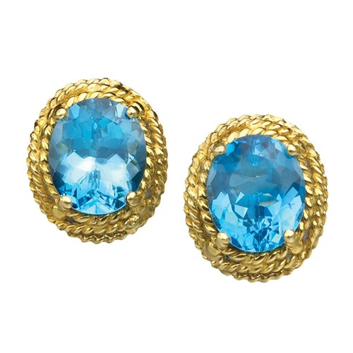 18k Gold Blue Topaz Earrings with Multi-Layered Rope Border