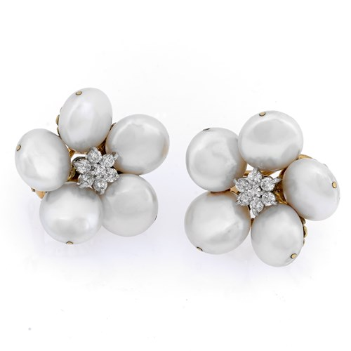 Coin Pearl Diamond Earrings with Clip